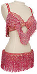 Pink Iridescent Sequin & Fringe with Jewels Egyptian Bra & Belt Belly Dance Costume - At DancingRahana.com