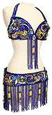 Blue Sequins & Jewels Egyptian Bra & Belt In Stock Belly Dance Costume - At DancingRahana.com